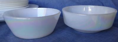 2 Condiment Bowls Retro Vintage Federal Glass MOONGLOW Iridescent Pearl Lustre
