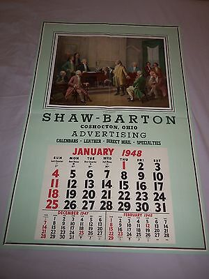 1948 GIANT Calendar 29 x 43.5 POSTER by JENNIE BROWNSCOMBE Founding Fathers