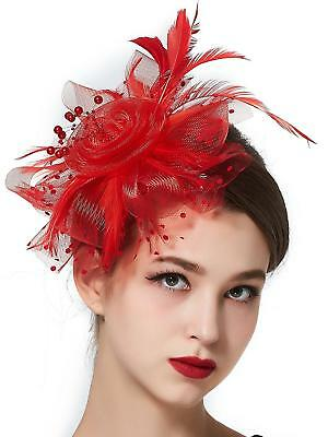 Zivyes Women Derby Tea Party Fascinator Sinamay Hat with Hair Clip Feather