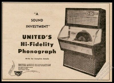 1957 United Hi-Fidelity Hi Fi jukebox photo vintage trade print ad