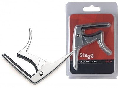 Stagg Trigger Capo For Ukulele - Black & Chrome Colours Available