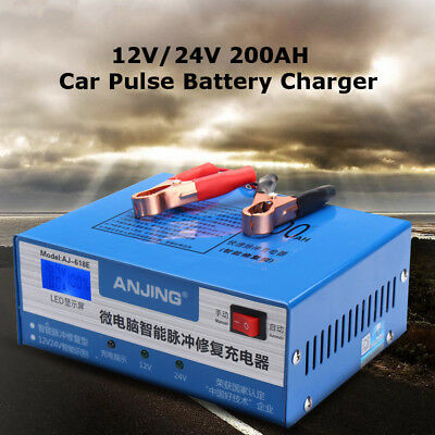 12/24V 200AH 220W Lead-acid Battery Power Charger For Car Motorcycle LED Display
