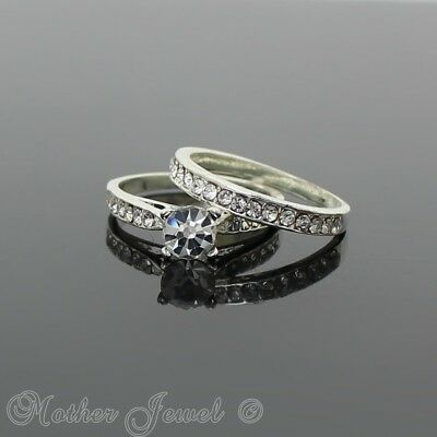 Sterling Silver Plated Engagement Wedding Anniversary Band Twin Ring Set