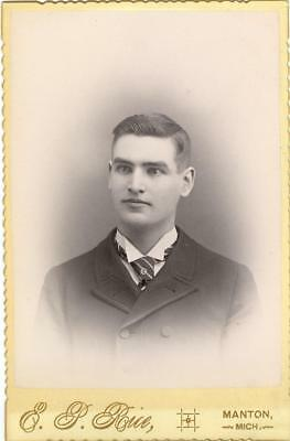Manton, MI    E. P. Rice photo cabinet card  young man with striped tie