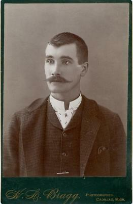 Cadillac, MI    W.L. Bragg photo cabinet card young man with mustache
