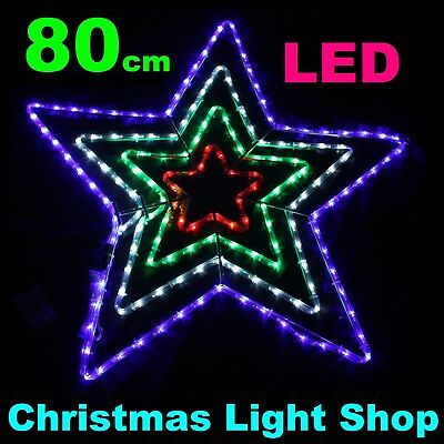 Red Green Blue 3 in 1 STAR Neon Flex Rope Outdoor LED Christmas Light Silhouette