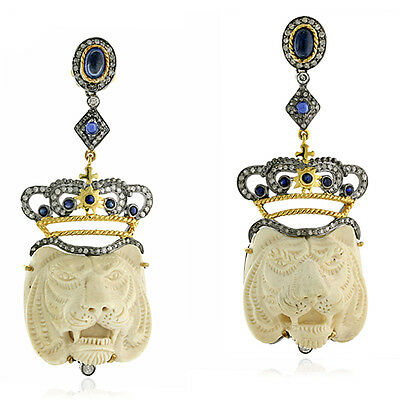 Blue Sapphire 1.35ct Diamond Gemstone Carved ANTIQUE Silver Earrings 18k Gold