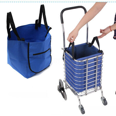 Reusable Foldable Supermarket Shopping Cart Trolley Eco Bag Grocery W Zip Pocket