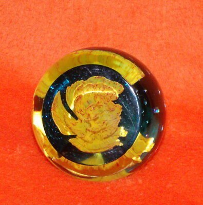 Caithness Yellow Carnation Facet Cut Paperweight - Signed / Numbered