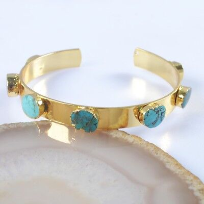 Natural Genuine Turquoise Bangle Gold Plated H98214