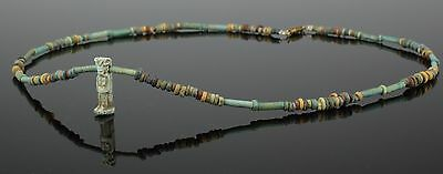 Beautiful Ancient Egyptian New Kingdom Faience Bead & Amulet Necklace (102)