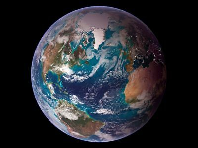 Earth Western Hemisphere from Space CANVAS ART PRINT A4 poster