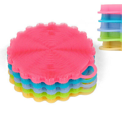Silicone Dish Washing Sponge Scrubber Kitchen Cleaning Antibacterial Tool New