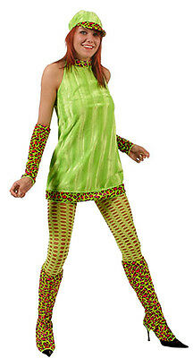 cdf06987427 Ladies Groovy Pschedelic 60 s 70 s Dress Hat Boot Covers Gloves Outfit New  12