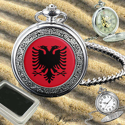 Albania Albanian Flag Eagle  Quartz Pocket Watch Gift