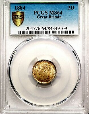 1884 Queen Victoria Great Britain Silver Threepence 3D Coin PCGS MS64