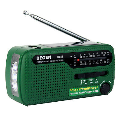 DEGEN DE13 FM MW SW Crank Dynamo Solar Emergency Radio World Receiver LED AU