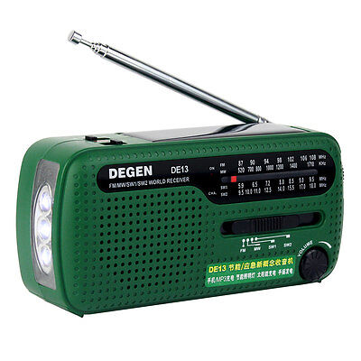 DEGEN Portable FM/MW/SW Radio Solar Emergency Radio World Receiver Light Alarm