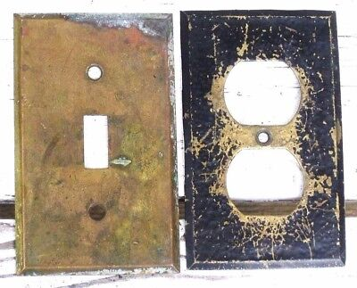 Lot of 2 Vintage Solid Brass Electric Wall Switch Outlet Plate Covers 4.5 x 2.75