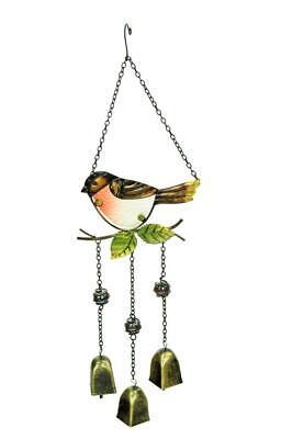 e2e Robin Hanging Painted Glass & Metal Wind Chime Windchime Bell Ornament