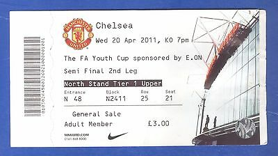 Manchester United v Chelsea FA Youth Cup Semi Final 2011 MATCH TICKET - POSTFREE