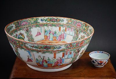 V-LARGE 30cm Antique Chinese Canton Famille Rose Porcelain Vase Punch Bowl QING