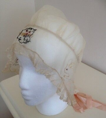 Charming Antique French Child's Bonnet Embroidered Cat & Rabbits