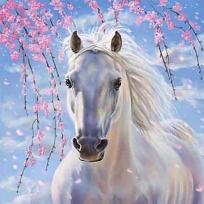 Full Drill White Horse 5D Diamond DIY Painting Home Decor Cross Crafts Stitch