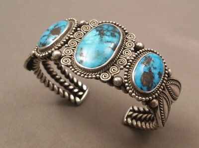 Navajo PERRY SHORTY Turquoise Silver Bracelet 67 Grams