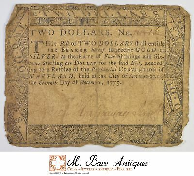 1775 $2.00 Maryland Colonial Currency *399
