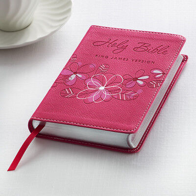 KJV HOLY BIBLE King James Version Pink Faux Leather Floral Pocket Edition NEW