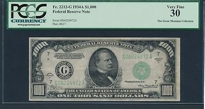 1934A $1000 One Thousand Dollar Bill Currency Cash Note Money PCGS VF 30