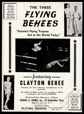 1941 The Flying Beehees trapeze act Clayton Behee photo vintage trade print ad