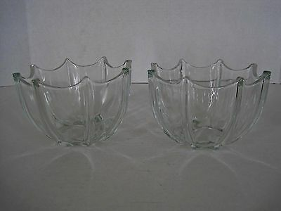 2 Vintage Glass Bowls Ridged Panels With Points Thick Heavy Clear