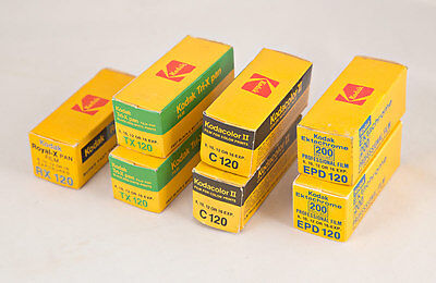 LOT of Seven (7) ROLLS of 120 CAMERA FILM RX120, TX120, C120, EPD120 Expired
