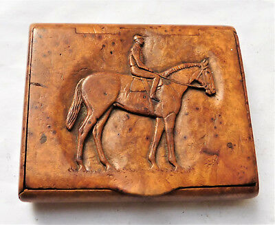 NO RESERVE Karelian Birch Horse Racing  Jockey Cigarette Case Vintage Antique