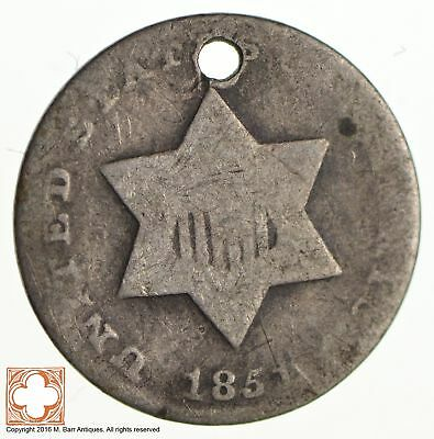 1851 Three Cent Piece - Silver *Condition: Hole *9157