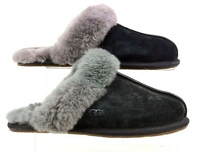 Womens Ugg Black Suede Sheepskin Slip On Warm Comfy Slippers Uk Size 5.5 Faded