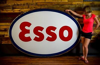 ESSO 60's PORCELAIN 2 SIDED GAS OIL STATION SIGN DEALER W/RING Barn Find CLEAN