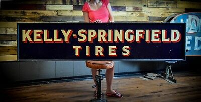 Original 1930's Kelly Springfield Tires Early Gas Oil Station Advertising Tin