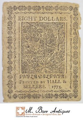 1775 $8.00 Continental Congress Colonial Note *377