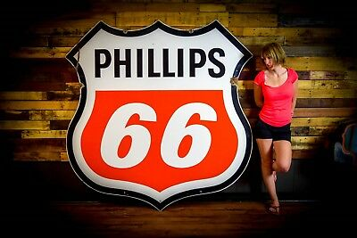 Nice Phillips 66 Double Sided 1972 Porcelain Sign Gas Station Advertisign 6'