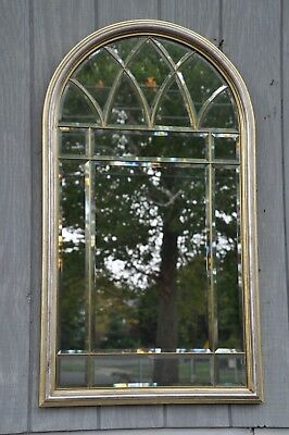 Decorative Crafts Beveled Gilt & Silver Leaf Mirror Made In Italy