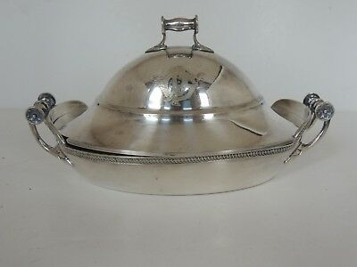 "Antique Aesthetic silverplate oval serving dish 3Pc pierced Liner 7.5"" victorian"
