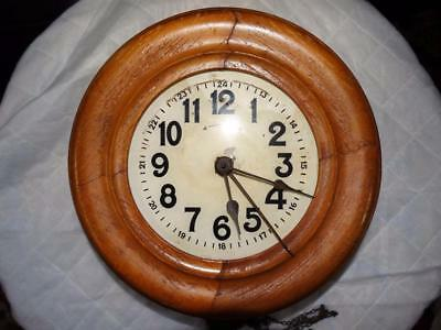 ANTIQUE SCHOOL WALL CLOCK WITH BELL & WOOD SURROUND FOR RESTORATION c1900.