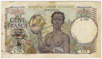 French West Africa 1945 Issue 100 Francs Very Crisp Vf.pick#40.