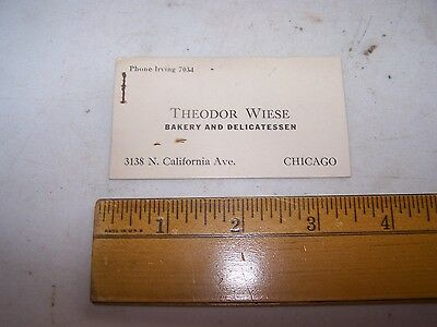 Vintage THEODOR WIESE Bakery & Delicatessen 3138 California Ave CHICAGO ILLINOIS
