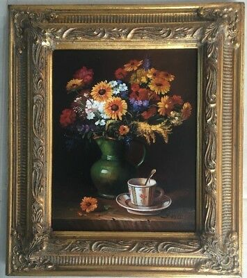 Quality Gilt Framed Original Oil Painting On Canvas Still Life Signed STUNNING