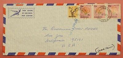1979 Rhodesia Overprints On Airmail Cover Unniati Cancel To Usa