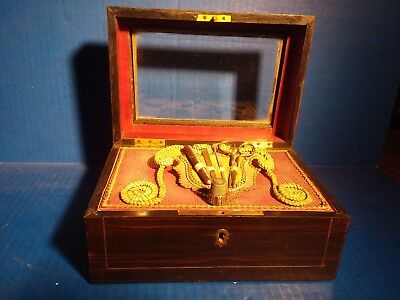 c1870's VICTORIAN GRAIN PAINTED SEWING BOX KIT ETUI SET STERLING THIMBLE ANTIQUE